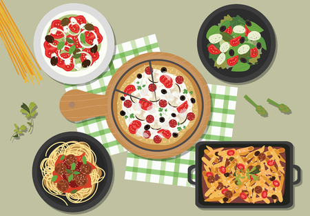Top view of Italia restaurant table, vector illustration. Ilustração