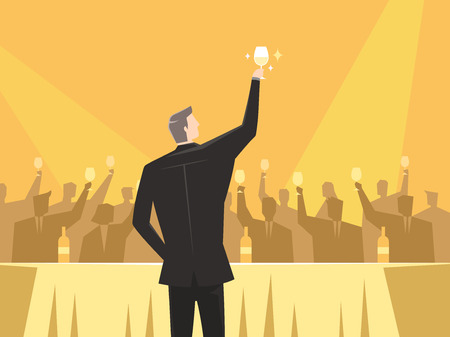 Rear view of businessman offering a toast, vector illustration.