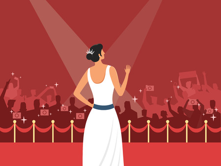 Rear view of actress greeting on red carpet, vector illustration. Stock Illustratie