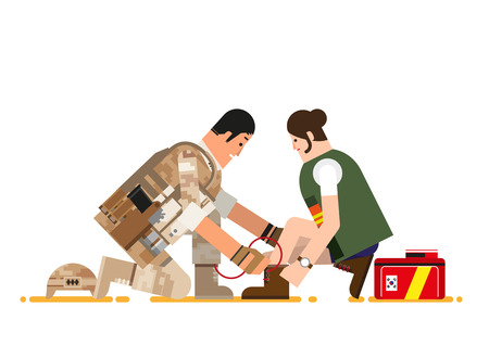 Soldier tying colleague's shoes, vector illustration.