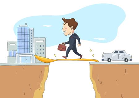 The rich walking on gold spoon bridge, vector illustration.
