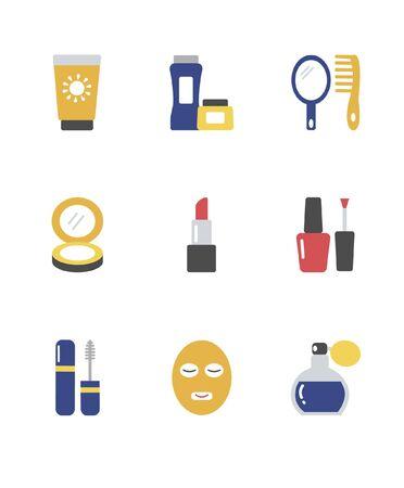 Insieme di varie icone cosmetiche, illustrazione vettoriale. Archivio Fotografico - 90824636