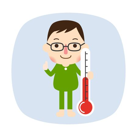 Handsome man measuring body temperature, vector illustration.