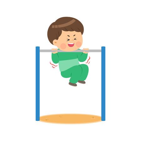 Cute boy exercising the horizontal bar, vector illustration. Çizim