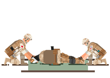 Soldier rescue the colleague, vector illustration. Illustration