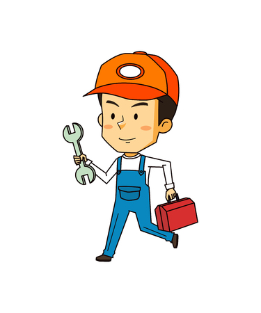 Engineer working with tool, vector illustration.