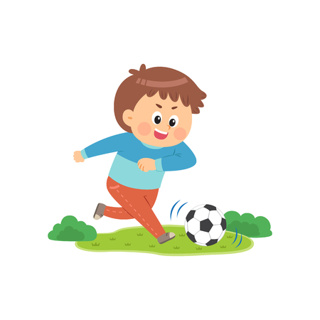 Cute boy playing soccer, vector illustration.