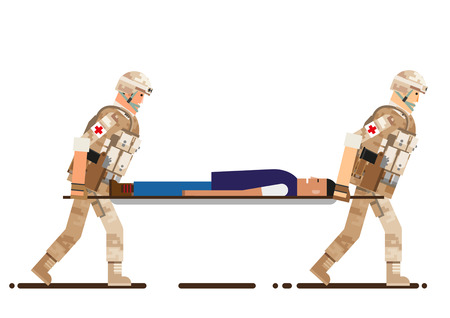 Soldier rescue the people, vector illustration. 向量圖像
