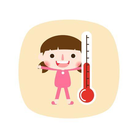 Cute girl measuring body temperature, vector illustration.