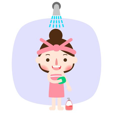 Beautiful woman taking a shower, vector illustration.