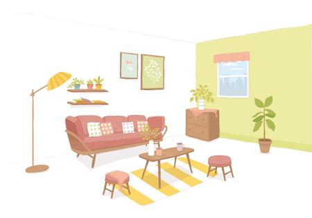 Modern Living room with furniture, vector illustration.  イラスト・ベクター素材