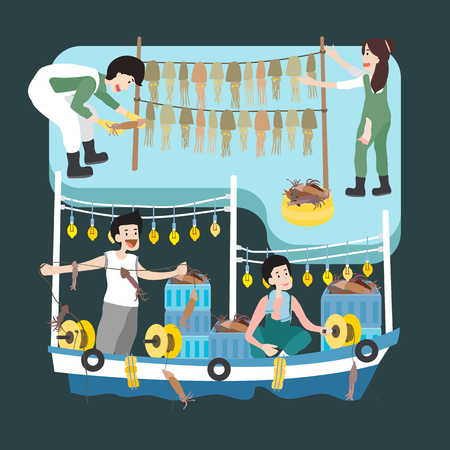 People working at fishing industry, vector illustration.