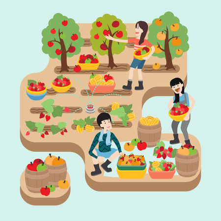 People working at fruit farm, vector illustration.