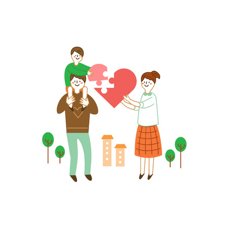 Happy family holding heart puzzle, vector illustration.