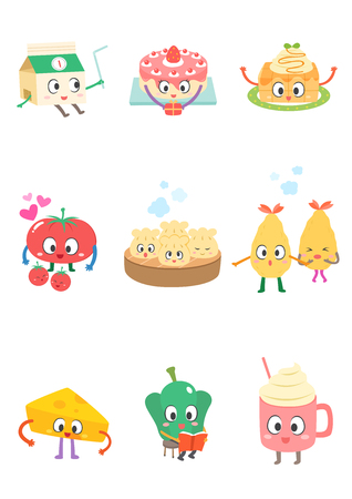 Set of various food cartoon Иллюстрация