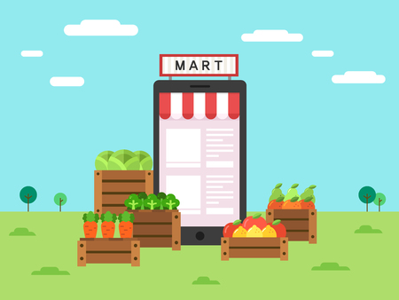 Smartphone with grocery store icon, vector illustration.