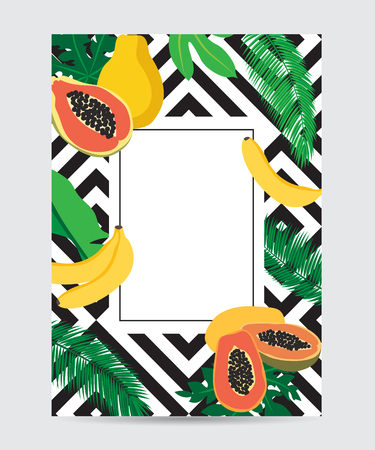 Tropical black template with fruits, vector illustration.