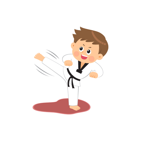 Cute boy performing taekwondo, vector illustration.