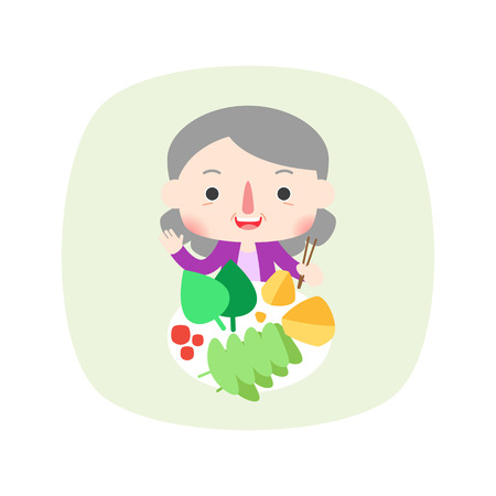 The aged woman eating fresh food, vector illustration. Illustration