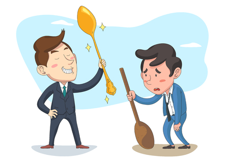 The rich and poor have different spoon, vector illustration.  イラスト・ベクター素材