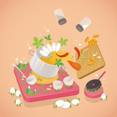 Set of cooking isometric icon, vector illustration.
