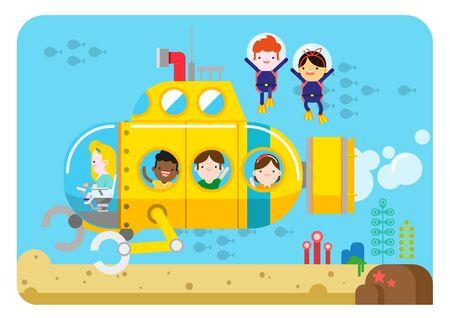 Children enjoying at submarine, vector illustration. Illustration