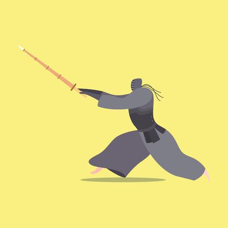 Athlete practicing fencing