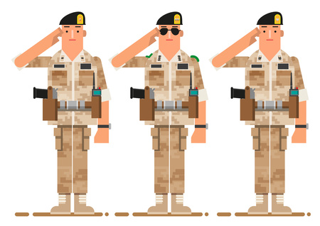 Soldier giving a salute, vector illustration. Illustration