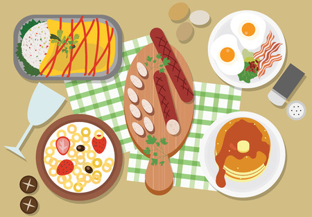 Top view of brunch restaurant table, vector illustration.