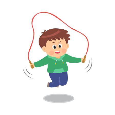 Cute boy jumping rope, vector illustration.