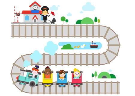 Children enjoying train play, vector illustration. Illustration