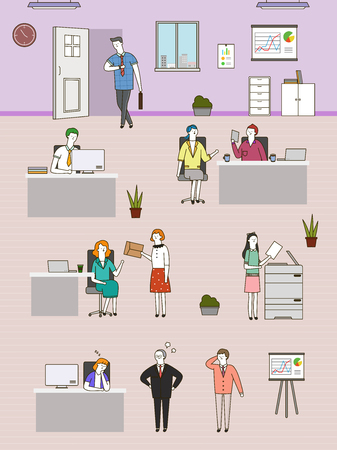 People working at business office, vector illustration.
