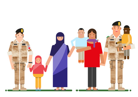 Soldier and global people holding hands, vector illustration.