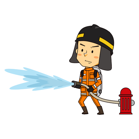 Fireman used extinguishing fire, vector illustration.