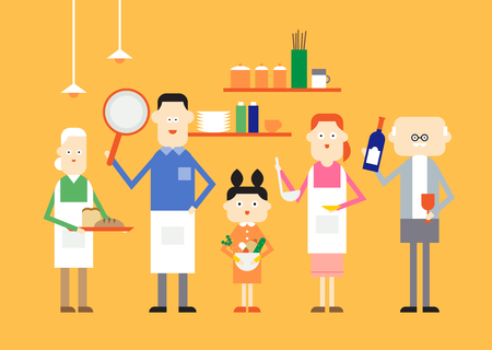 Large family cooking, vector illustration.