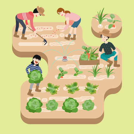 People working at organic farm, vector illustration.