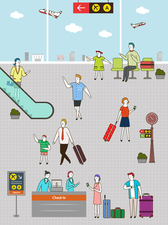 People going to trip at airport, vector illustration.