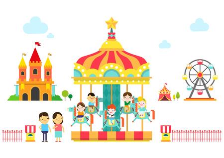 Family enjoying at amusement park, vector illustration. Illustration