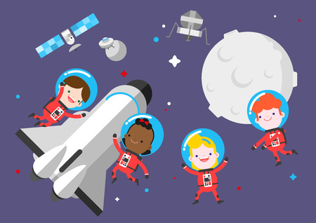 Children enjoying universe travel, vector illustration. Illustration