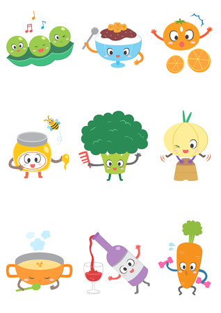 Set of various food cartoon Illustration