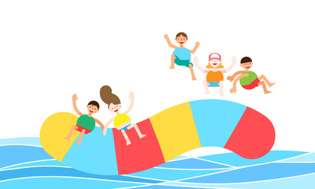 People enjoying summer leisure sport, vector illustration. Stock Vector - 90827553