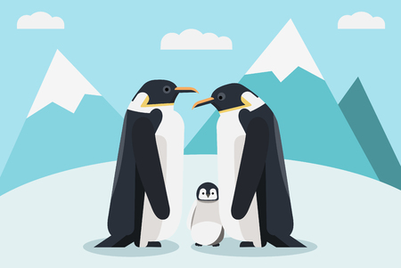Penguins on the south pole Ilustrace