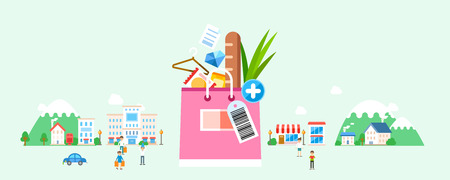 Shopping bag with village and people Illustration