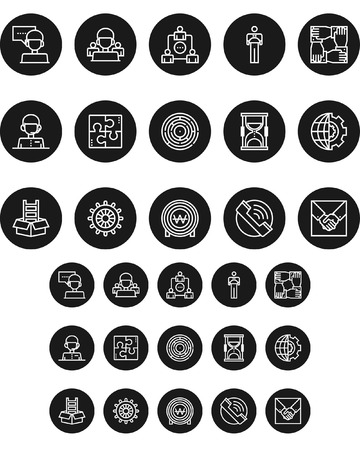 Set of network black and white round icon, vector illustration.