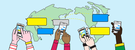 Social media across the globe concept illustration.