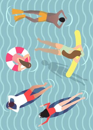 Top view of people enjoying at ocean, vector illustration.