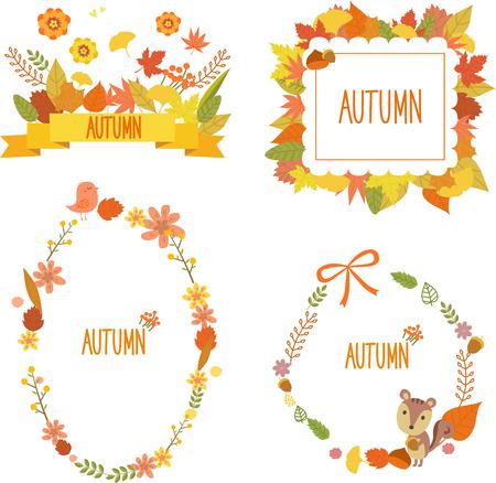 Autumn flower wreath template design, vector illustration. Illustration