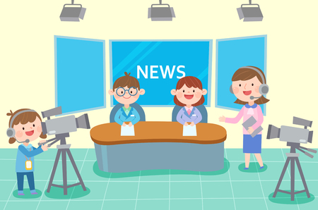 Broadcasting team preparing news casting, vector illustration. 일러스트