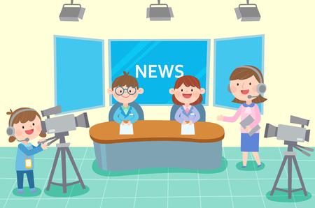 Broadcasting team preparing news casting, vector illustration. Stock Illustratie