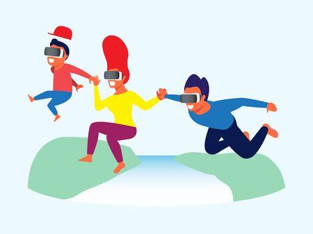 Family playing virtual reality game Illustration